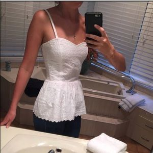 Lilly Pulitzer White Lace Gardenia Peplum Tank Top